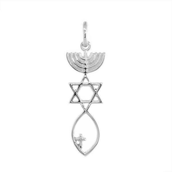 Small Messianic Seal Jewelry Charm with Small Cross in 14K White Gold