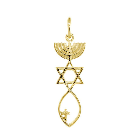Small Messianic Seal Jewelry Charm with Small Cross in 14K Yellow Gold