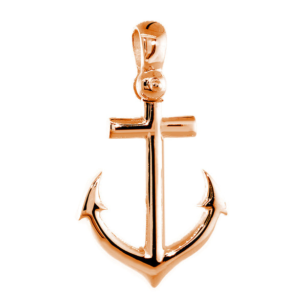 24mm Anchor Charm with Wave Pattern in 14k Pink, Rose Gold