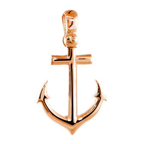 Large Anchor Charm with Wave Pattern in 14k Pink, Rose Gold