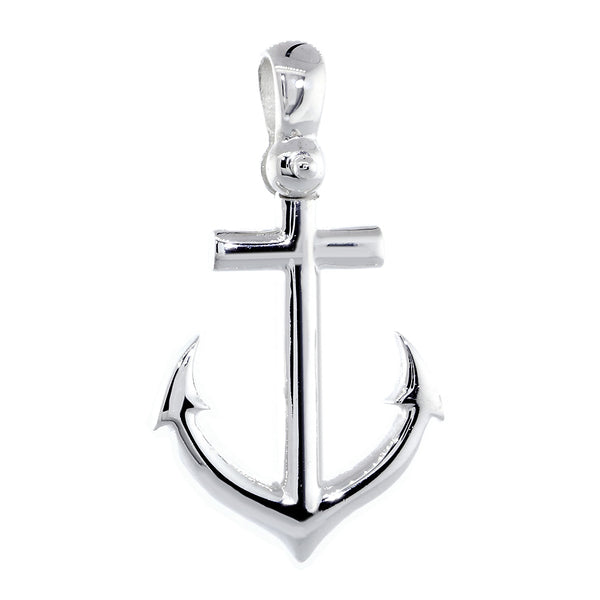 Large Anchor Charm with Wave Pattern in 14k White Gold