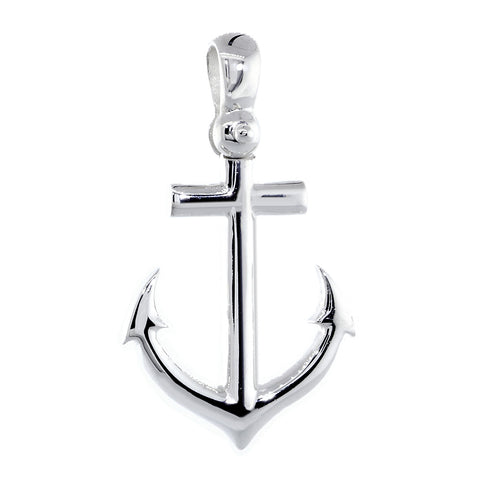 24mm Anchor Charm with Wave Pattern in Sterling Silver