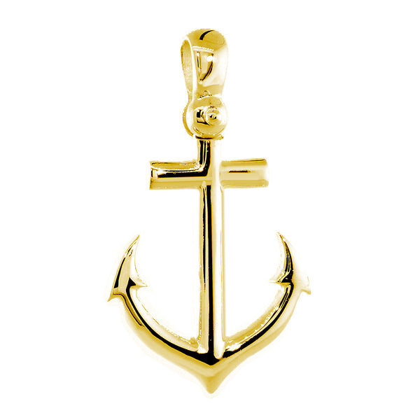 Large Anchor Charm with Wave Pattern in 14k Yellow Gold