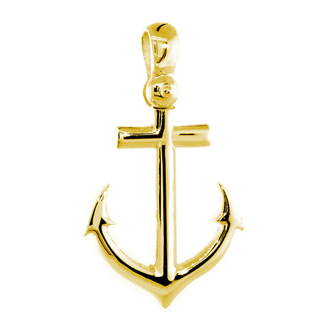 24mm Anchor Charm with Wave Pattern in 14k Yellow Gold