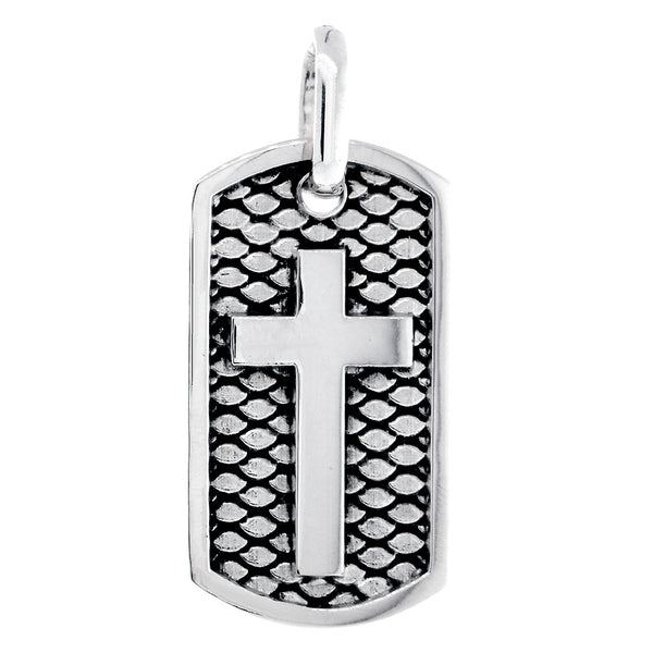 36mm Hardcore Metal Snake Skin Cross Pendant Dog Tag in 14K White Gold
