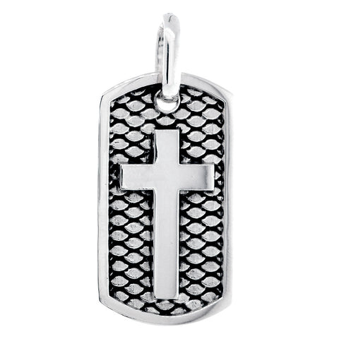 36mm Hardcore Metal Snake Skin Cross Pendant Dog Tag in Sterling Silver