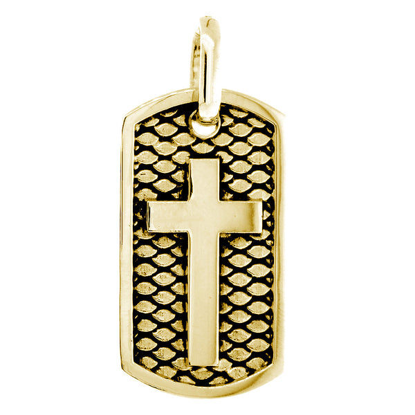 36mm Hardcore Metal Snake Skin Cross Pendant Dog Tag in 14K Yellow Gold