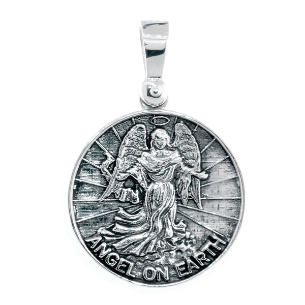 Angel on Earth Coin Charm, 27mm in Sterling Silver