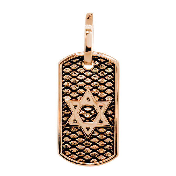 31mm Hardcore Metal Snake Skin Star of David Pendant Dog Tag in 14K Pink, Rose Gold