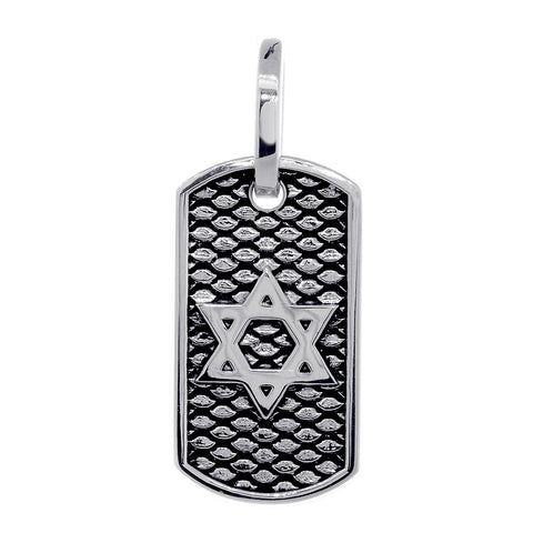 31mm Hardcore Metal Snake Skin Star of David Pendant Dog Tag in 14K White