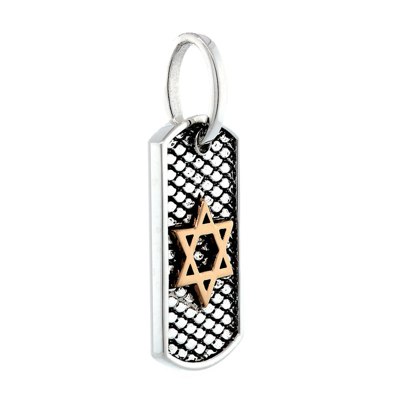 31mm Hardcore Metal Snake Skin Star of David Pendant Dog Tag in 14K Pink and White Gold