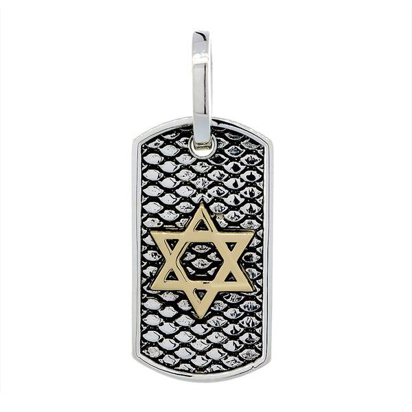 31mm Hardcore Metal Snake Skin Star of David Pendant Dog Tag in 14K Yellow and White Gold
