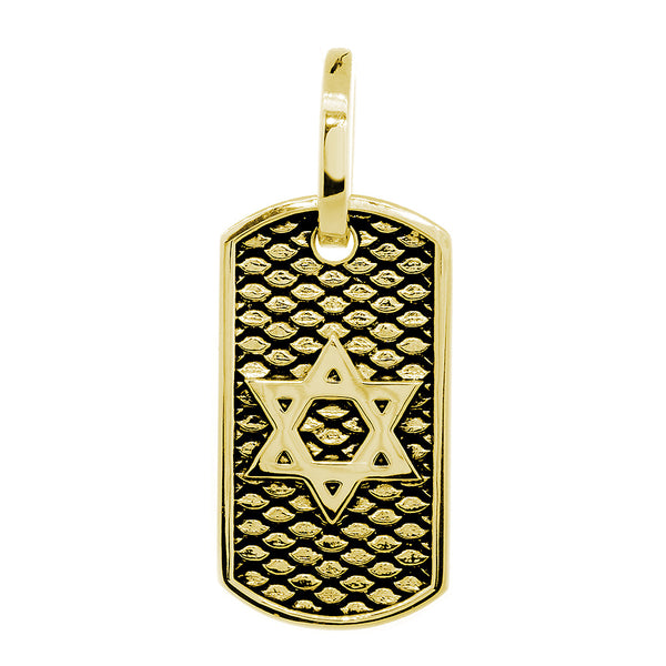 31mm Hardcore Metal Snake Skin Star of David Pendant Dog Tag in 14K Yellow Gold