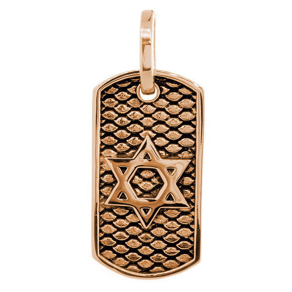 36mm Hardcore Metal Snake Skin Star of David Pendant Dog Tag in 14k Pink Gold