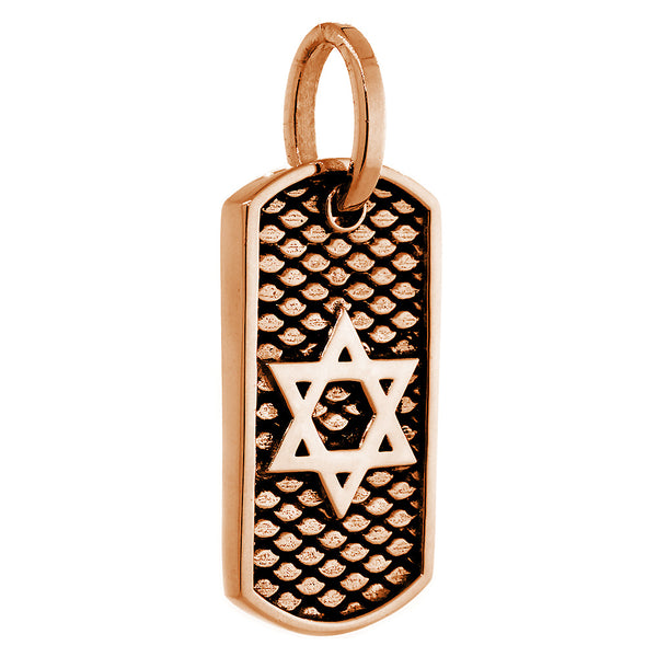 Image result for 4. 36 mm Hardcore Metal Snake Skin Star of David Pendant Dog Tag in 14K Pink, Rose Gold