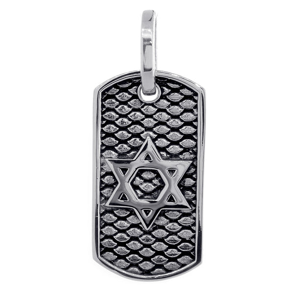 36mm Hardcore Metal Snake Skin Star of David Pendant Dog Tag in 14k White Gold