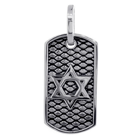 36mm Hardcore Metal Snake Skin Star of David Pendant Dog Tag in Sterling Silver