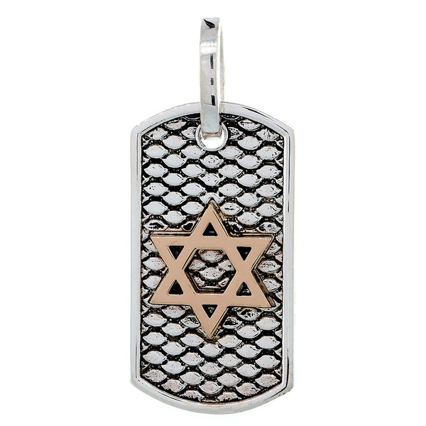 36mm Hardcore Metal Snake Skin Star of David Pendant Dog Tag in 14k Pink Gold and Sterling Silver