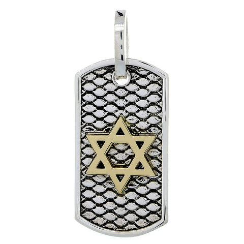 36mm Hardcore Metal Snake Skin Star of David Pendant Dog Tag in 14k Yellow Gold and Sterling Silver