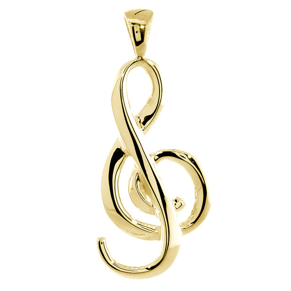 Flowing Treble Clef Charm, 32mm, Bail in 14k Yellow Gold