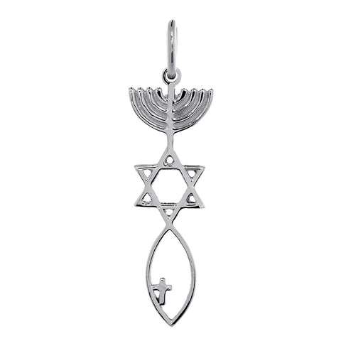 Medium Size Messianic Seal Jewelry Charm with Small Cross in 14k White Gold