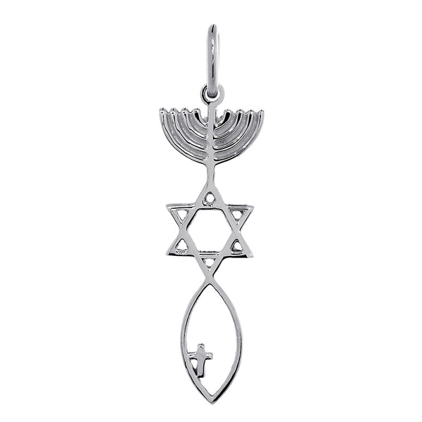 Medium Size Messianic Seal Jewelry Charm with Small Cross in Sterling Silver