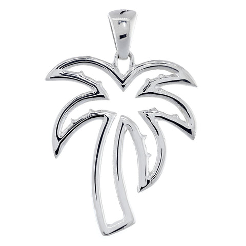 Large Open Contemporary Palm Tree Charm in 14k White Gold