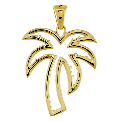 Large Open Contemporary Palm Tree Charm in 14k Yellow Gold