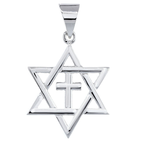 Large Messianic Star of David with Cross Charm in 14k White Gold
