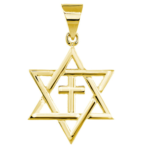 Large Messianic Star of David with Cross Charm in 14k Yellow Gold