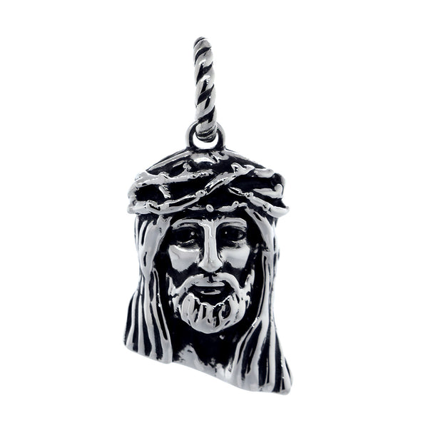 Large Jesus Christ Crown of Thorns Charm, 28mm in 14k White Gold