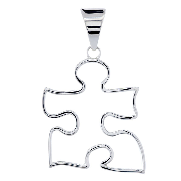 Extra Large Open Autism Awareness Charm, 28mm in 18k White Gold
