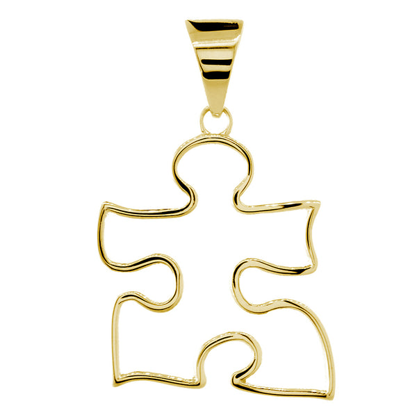 Extra Large Open Autism Awareness Charm, 28mm in 18k Yellow Gold