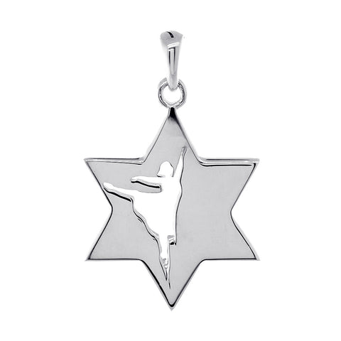 Jewish Star of David Dancer Charm, Shiny Front and Back in 14k White Gold
