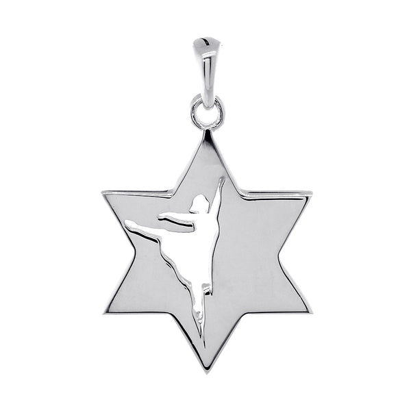Hammered Back Texture Jewish Star of David Dancer Charm in 14k White Gold
