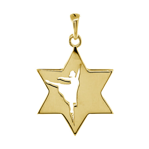 Jewish Star of David Dancer Charm, Shiny Front and Back in 14k Yellow Gold