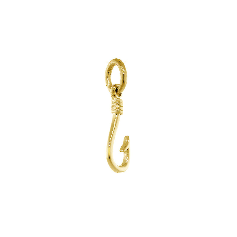12mm Fishermans Barbed Hook and Knot Fishing Charm in 18k Yellow Gold