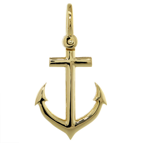 31mm Anchor Charm with Wave Pattern in 14k Yellow Gold
