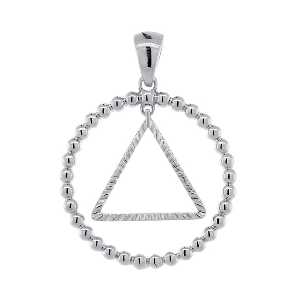 25mm AA Sobriety Charm Beaded Circle and Diamond Cut Movable Triangle in 14k White Gold