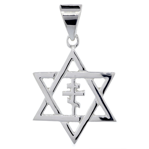 28mm Messianic Jewish Star of David and Russian Orthodox Cross Charm in 14k White Gold
