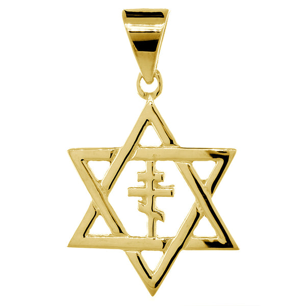 28mm Messianic Jewish Star of David and Russian Orthodox Cross Charm in 14k Yellow Gold