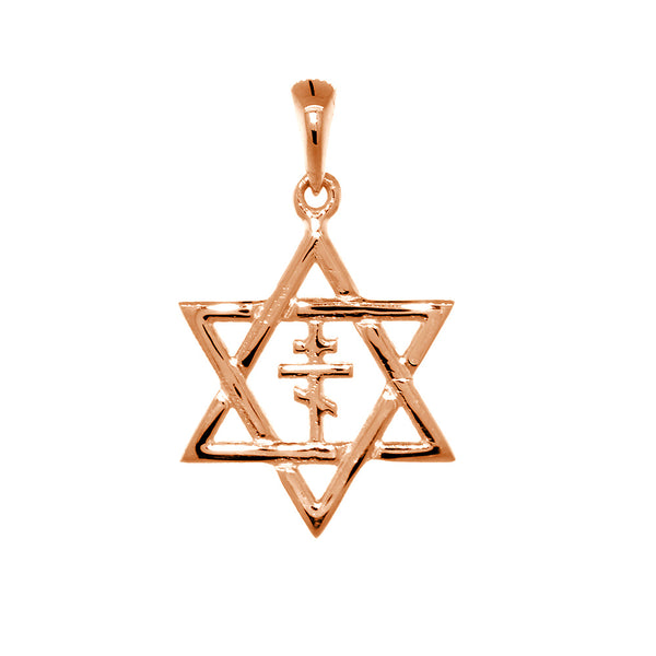 17mm Messianic Jewish Star of David and Russian Orthodox Cross Charm in 14k Pink, Rose Gold