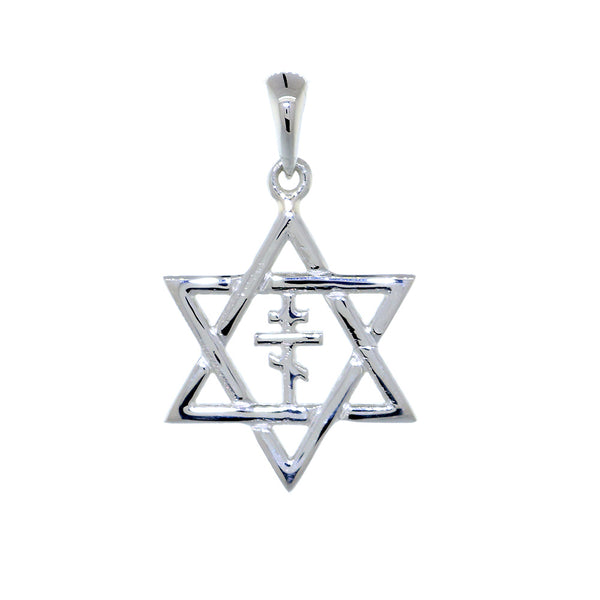 17mm Messianic Jewish Star of David and Russian Orthodox Cross Charm in 14k White Gold