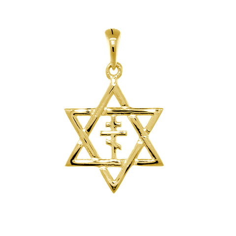 17mm Messianic Jewish Star of David and Russian Orthodox Cross Charm in 14k Yellow Gold
