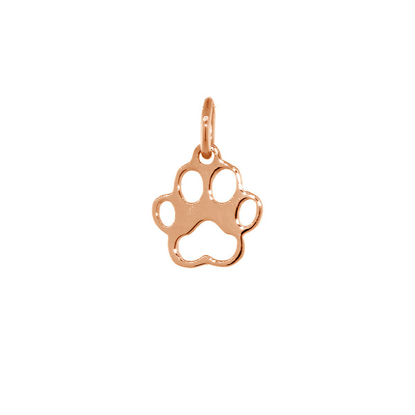 8mm Open Dog Paw Charm in 14k Pink, Rose Gold