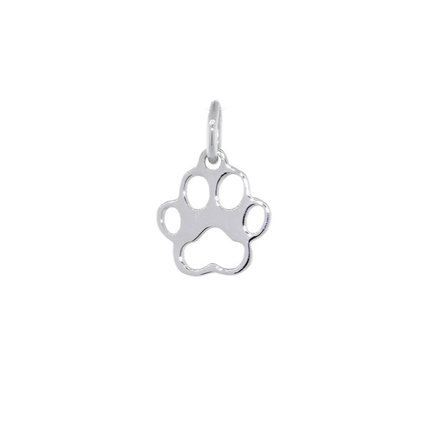 8mm Open Dog Paw Charm in 14k White Gold