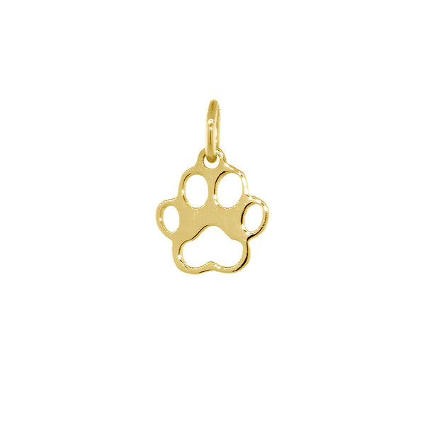 8mm Open Dog Paw Charm in 14k Yellow Gold