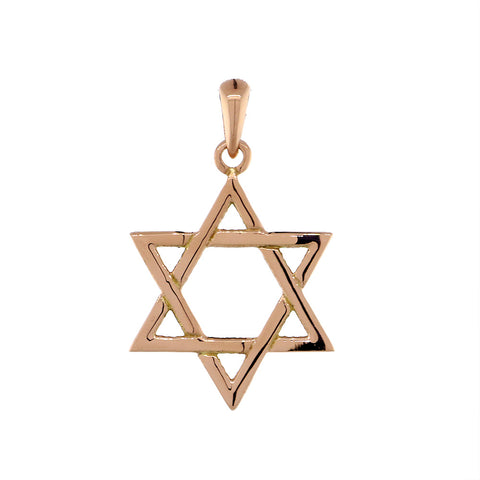 17mm Thin Jewish Star of David Charm in 14k Pink, Rose Gold