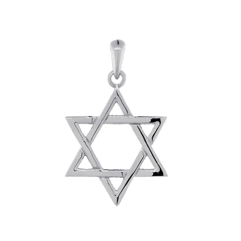 17mm Thin Jewish Star of David Charm in 14k White Gold