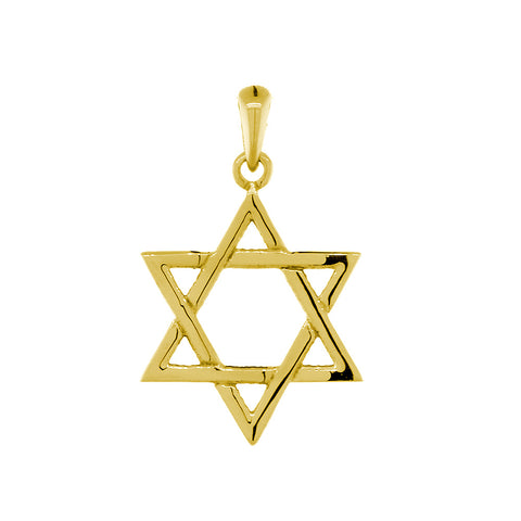 17mm Thin Jewish Star of David Charm in 14k Yellow Gold